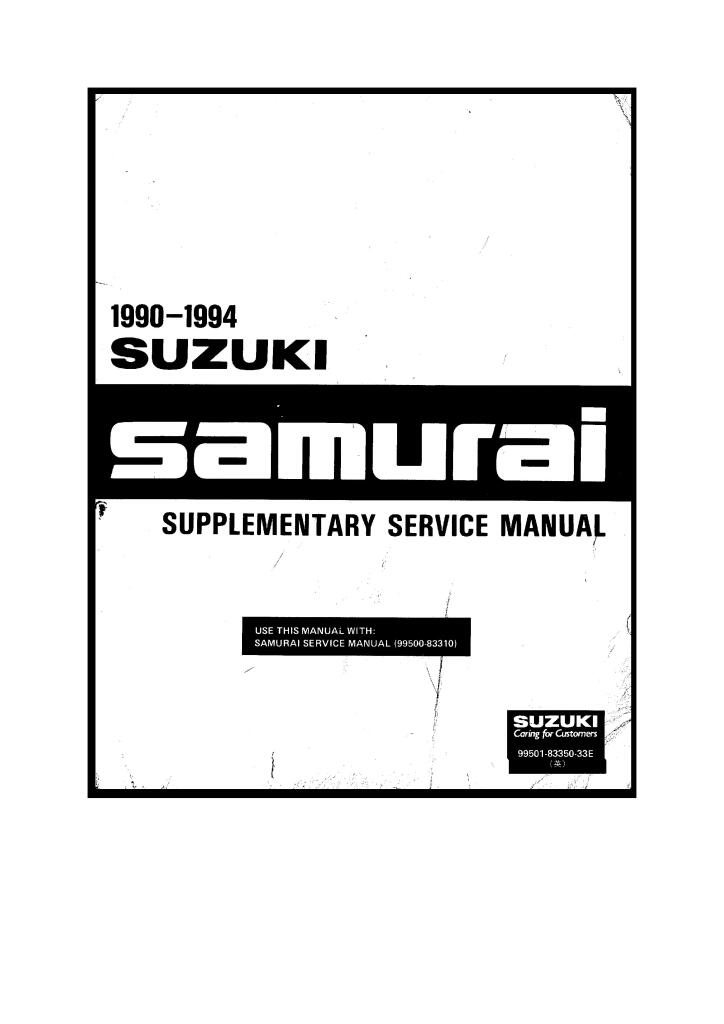 1990 Samurai Supplementary Service Manual Pdf 158 Mb Repair Manuals English En